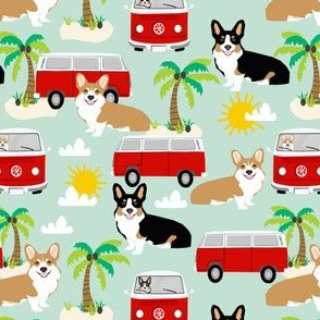 corgi beach fabric hippie bus fabric palm trees sand summer dog fabric