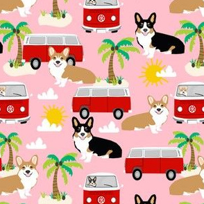 corgi beach fabric summer beach fabric palm trees sand summer dog fabric