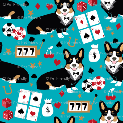 corgi casino fabric tricolored corgi design las vegas gambling fabric