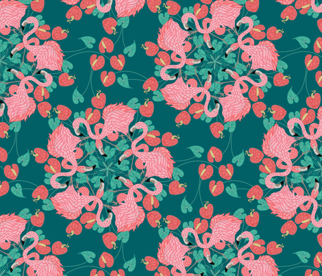 flamingo_mandala_teal fabric by juditgueth on Spoonflower - custom fabric