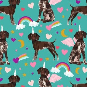 german shorthaired pointer fabric rainbows unicorns and pegasus fabric cute rainbows and hearts - turquoise