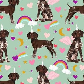 german shorthaired pointer fabric rainbows unicorns and pegasus fabric cute rainbows and hearts - mint