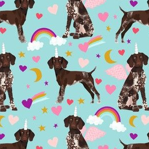 german shorthaired pointer fabric rainbows unicorns and pegasus fabric cute rainbows and hearts - blue tint