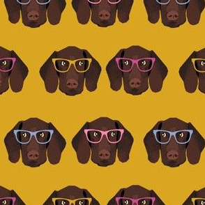 german shorthaired pointer in glasses fabric - bright mustard