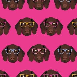 german shorthaired pointer in glasses fabric - bright magenta