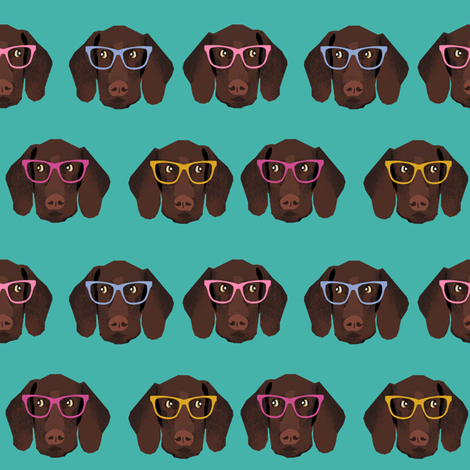 german shorthaired pointer in glasses fabric - turquoise fabric by petfriendly on Spoonflower - custom fabric