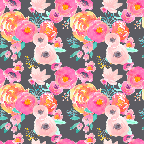 INDY BLOOM BLUSH Florals Grey_C fabric by indybloomdesign on Spoonflower - custom fabric