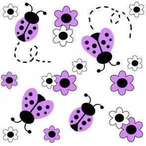 Lavender Purple Ladybug Floral