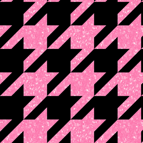 The Houndstooth Check ~ Black and Pink Glitter  fabric by peacoquettedesigns on Spoonflower - custom fabric