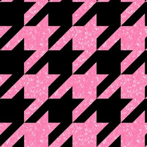 The Houndstooth Check ~ Black and Pink Glitter