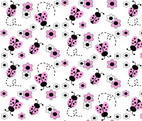 Pink Ladybug Floral fabric by decamp_studios on Spoonflower - custom fabric