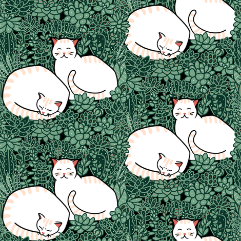 Cats in a succulent garden  fabric by elena_naylor on Spoonflower - custom fabric