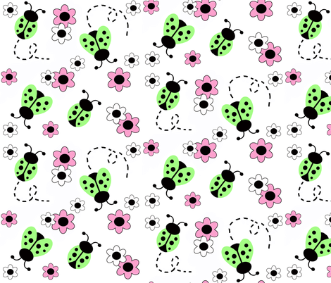 Mint Green Ladybugs Pink Floral fabric by decamp_studios on Spoonflower - custom fabric