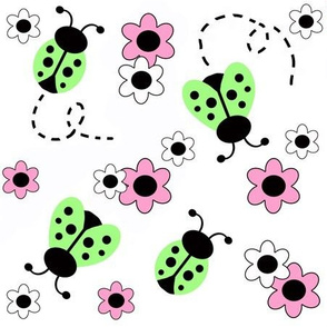 Mint Green Ladybugs Pink Floral