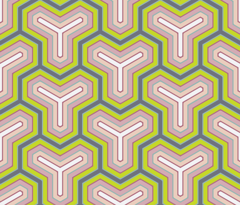 Pink and Blue Geometric Spring Large fabric by brainsarepretty on Spoonflower - custom fabric