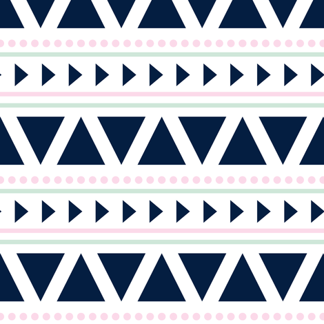 aztec // blue, mint, pink fabric by littlearrowdesign on Spoonflower - custom fabric