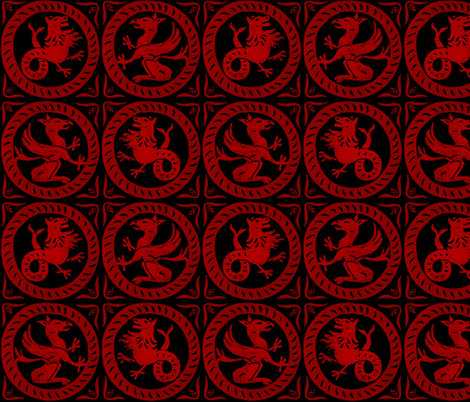 13th Century Dragon Tile ~ Richelieu Red on Black ~ Medium fabric by peacoquettedesigns on Spoonflower - custom fabric