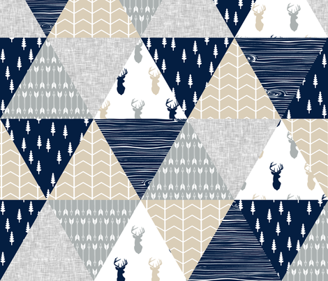 northern lights triangle wholecloth (tan buck) fabric by littlearrowdesign on Spoonflower - custom fabric