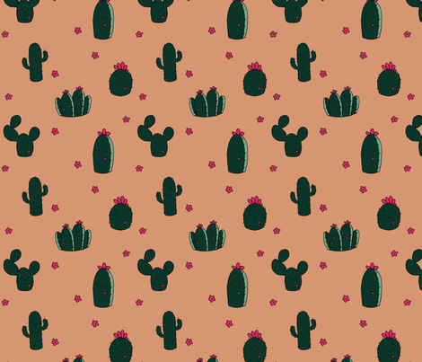 Limited Palette Succulents fabric by peachpandastudio on Spoonflower - custom fabric