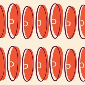 Mid Century Modular  Discus ~ Mandarin red