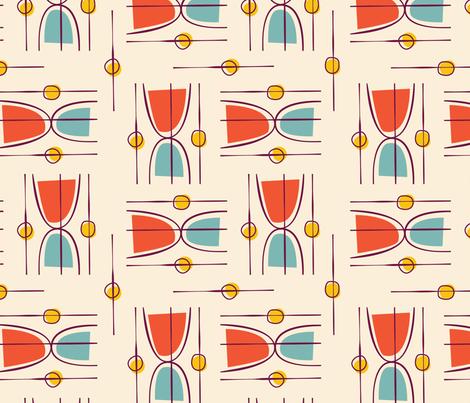 Mid Century Modular  Hourglass ~ Mandarin sky fabric by retrorudolphs on Spoonflower - custom fabric