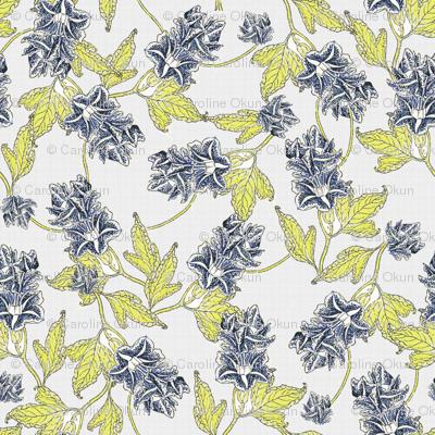 Blue Morning Glory Vintage Floral