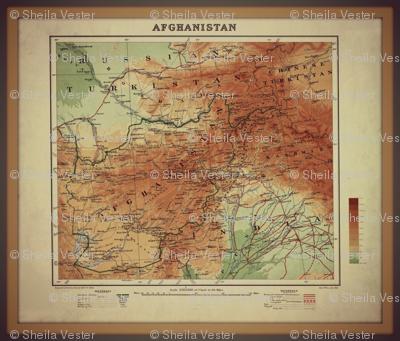 Afghanistan vintage map, FQ