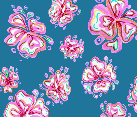 hawaii_in_pink_2 fabric by catalina_rodriguez_marroquin on Spoonflower - custom fabric
