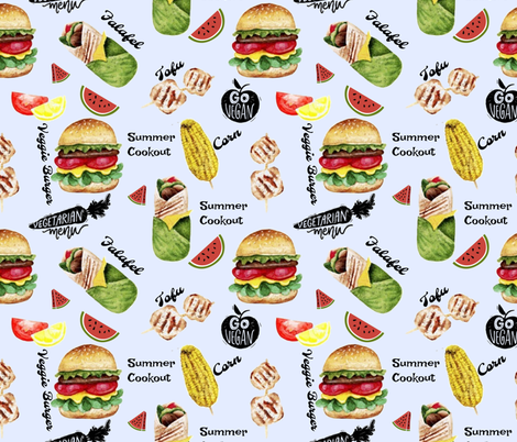 Veggie/Vegan Cookout fabric by floramoon on Spoonflower - custom fabric