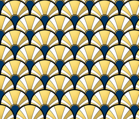 Navy and Gold Flow Art Deco  Fan fabric by suzzincolour on Spoonflower - custom fabric