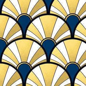 Navy and Gold Flow Art Deco  Fan
