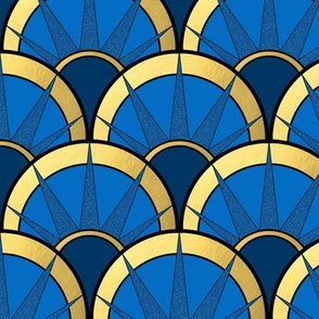 Art Deco Fancy Fan in Navy and Gold