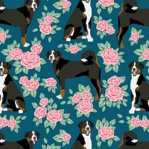 greater swiss mountain dog fabric roses floral dog design - sapphire blue
