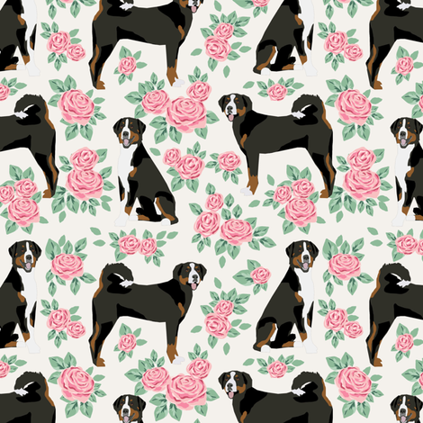 appenzeller sennehund - swiss mountain dog fabric roses floral dog design - cream fabric by petfriendly on Spoonflower - custom fabric