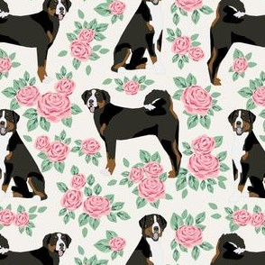 greater swiss mountain dog fabric roses floral dog design - cream