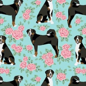 greater swiss mountain dog fabric roses floral dog design - blue tint