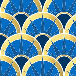 Navy and Gold Fancy Fan with White outline