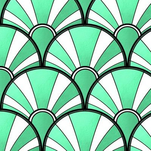 Green Metallic and White Deco Fan