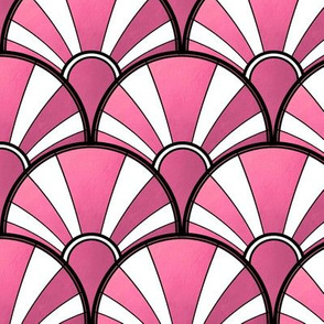 Pink and White Metallic Fan