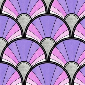 Purple and Pink Flowing Art Deco Fan