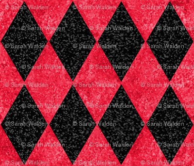 Harlequin Diamonds ~ Black and Red Mosaic