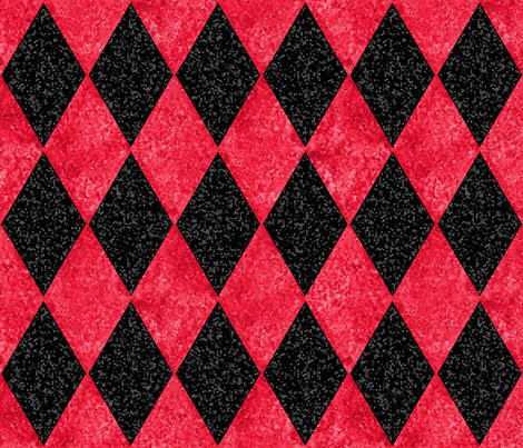 Harlequin Diamonds ~ Black and Red Mosaic fabric by peacoquettedesigns on Spoonflower - custom fabric