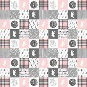 "2"" small scale - Pink and Grey Fearfully and Wonderfully Made (90) - Patchwork woodland quilt top"