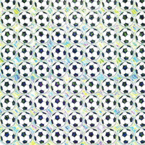 Painted Aqua Soccer Balls fabric by palifino on Spoonflower - custom fabric