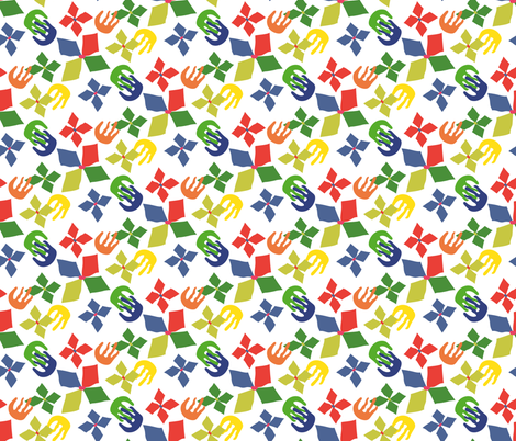 Matisse-like Colorful Paper-cut Floral Design fabric by creative_madame on Spoonflower - custom fabric