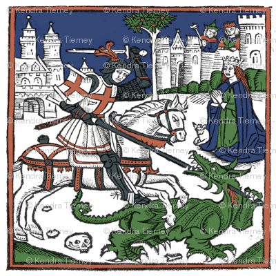 St George And The Dragon Colored Woodcut Fabric Kendra