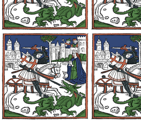 St George and the Dragon colored woodcut fabric by kendra_tierney on Spoonflower - custom fabric