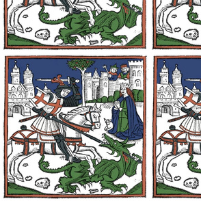 St George and the Dragon colored woodcut