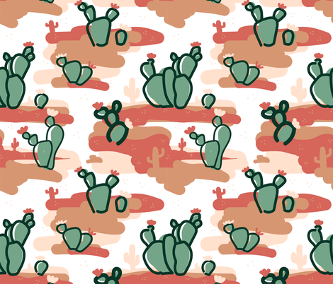 Cactus in the Desert fabric by bashfulbirdie on Spoonflower - custom fabric