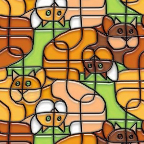 Stained Glass Cats in a Tangle